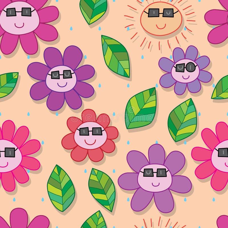 Solblommakläder gräs den sömlösa modellen royaltyfri illustrationer