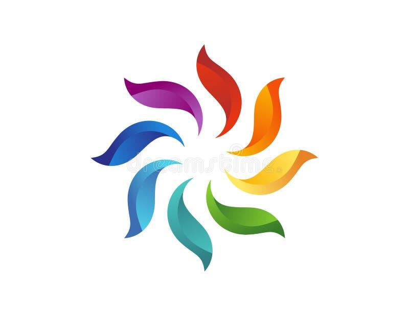 Solblommalogo, abstrakt blom- naturlig symbol, cirkelbeståndsdelsymbol stock illustrationer