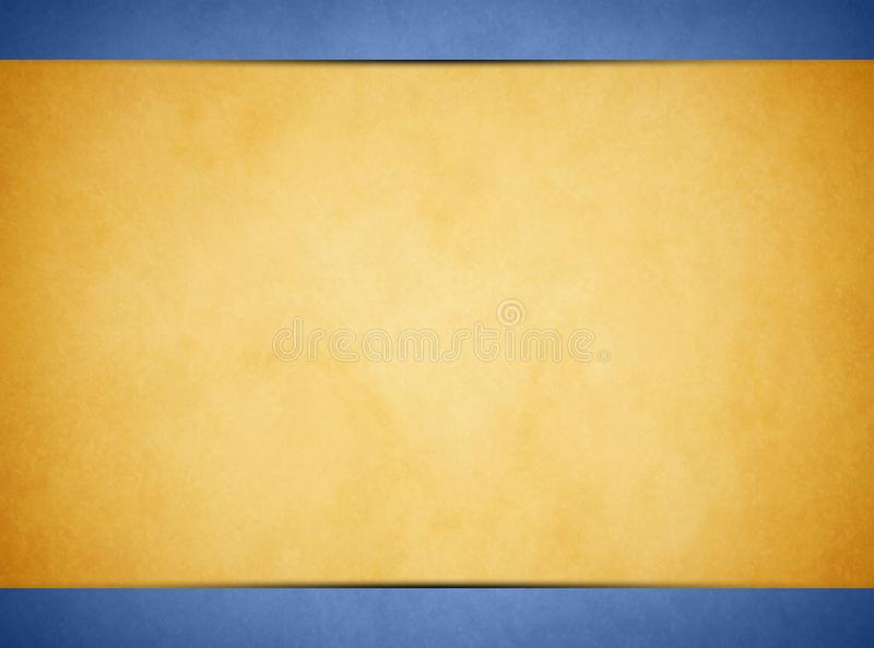 Solbränd pergamenttextur Ljust - blå titelrad och Footer arkivfoto