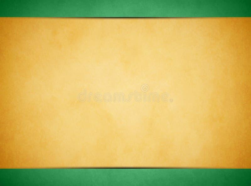 Solbränd pergamenttextur Ljust - grön titelrad och Footer royaltyfri bild