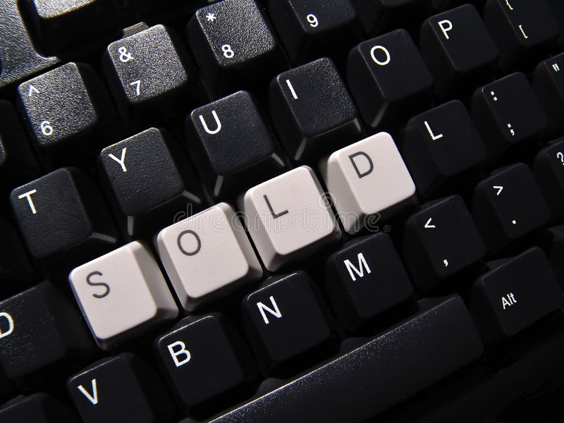 Sold computer keyboard. Black computer keyboard, with sold word stock images