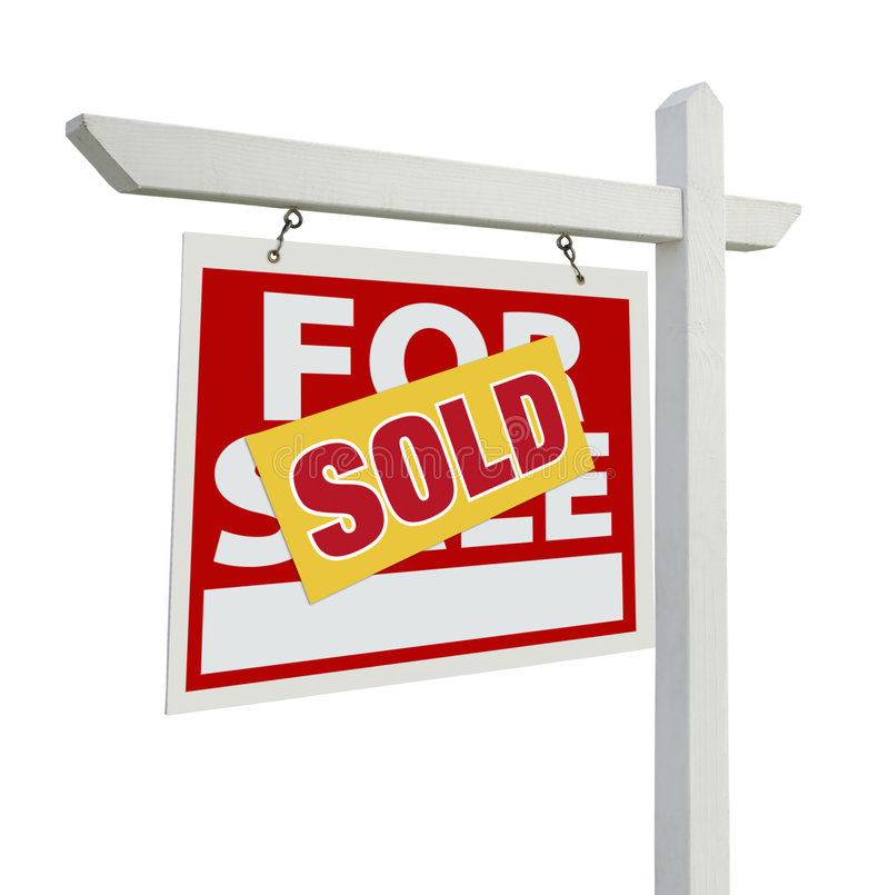 Sold Home For Sale Real Estate Sign on White. Sold Home For Sale Real Estate Sign Isolated on a White Background stock image
