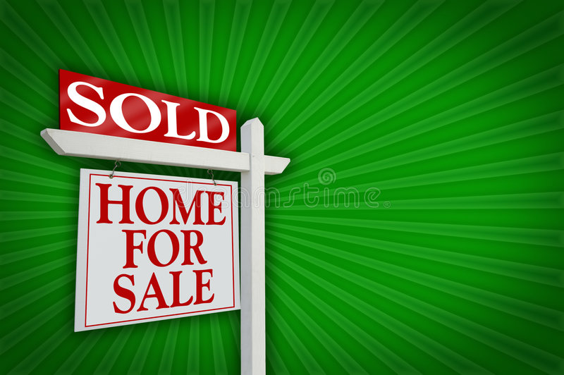 Sold Home For Sale Sign, Burst royalty free stock image