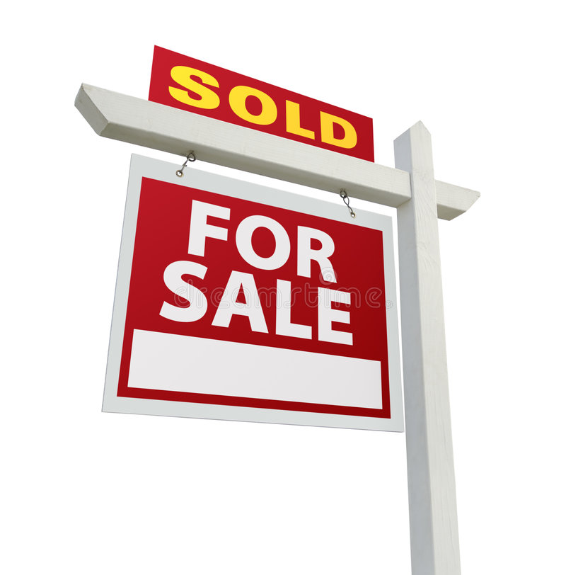 Sold Home for Sale Sign on White. Sold Home For Sale Real Estate Sign Isolated on a White Backgroun stock images