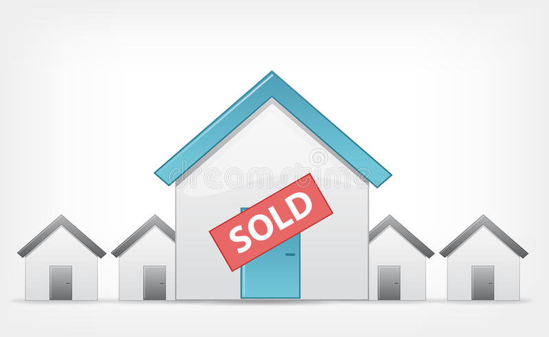 Sold Home. Vector EPS 10. Sold Home Concept. Grey Gradient Background. Vector EPS 10 royalty free illustration