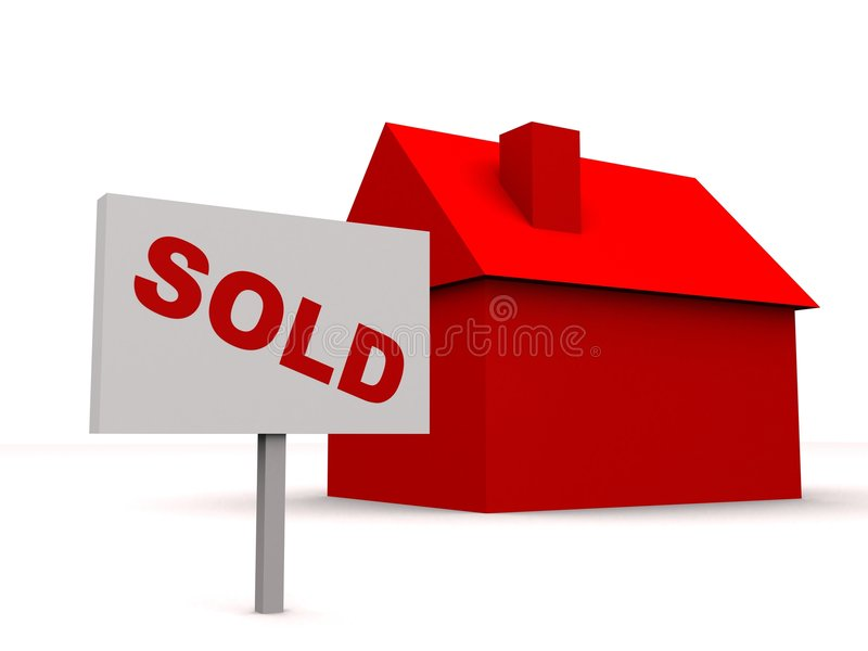 Sold house. 3d rendered illustration of a simple red house and a sold sign