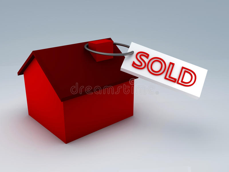 Sold house 3d royalty free illustration