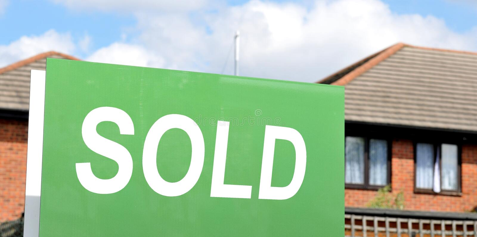 Sold house. Detail of sold house sign royalty free stock images