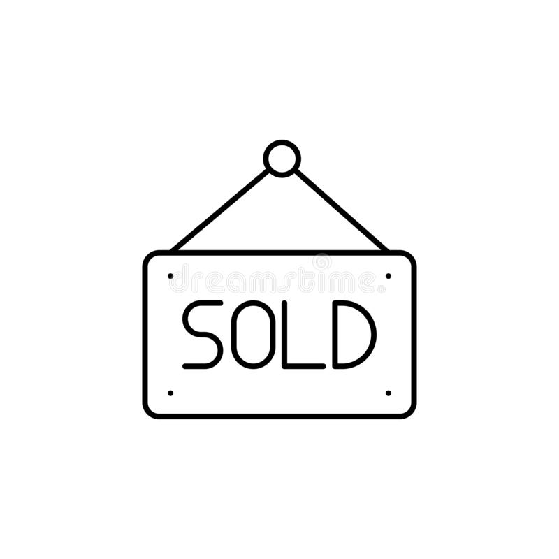 sold, nameplate icon. Simple thin line, outline vector of Real Estate icons for UI and UX, website or mobile application vector illustration