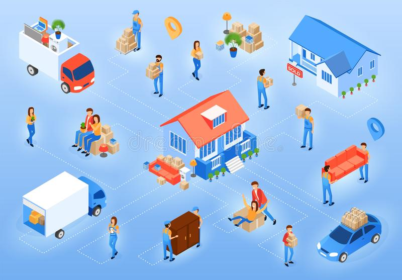 Sold Old and Moving in New House Vector Concept stock illustration