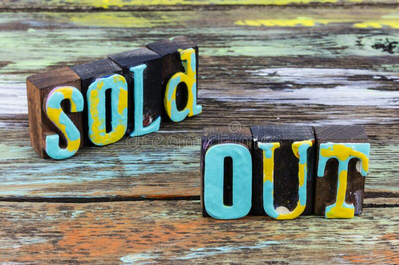 Sold out business marketing end sale consumer product. Sold out end result of sale for consumer product business marketing finish.  Retail store market success royalty free stock photography