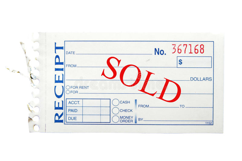 Sold receipt. Paper receipt, on white with Sold text royalty free stock images