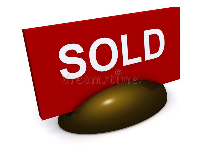 Sold sign. A bright red sign with the word sold in white royalty free stock images