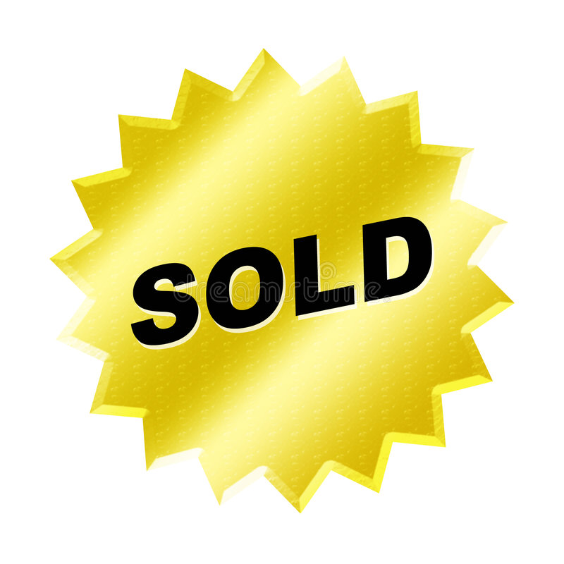 Sold Sign. Yellow sold sign - web button - internet design royalty free illustration