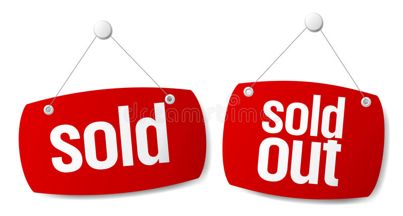 Sold signs royalty free illustration