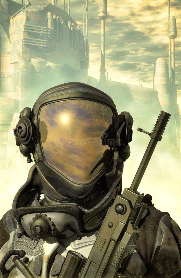 Solda futurista no terno de espaço ilustração do vetor