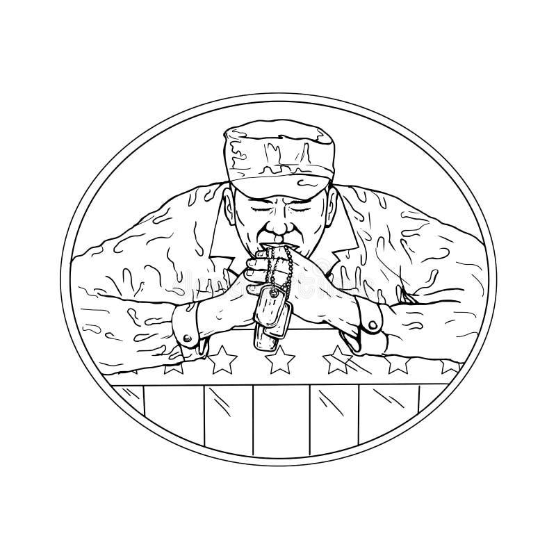 Soldado afro-americano Praying Drawing ilustração do vetor