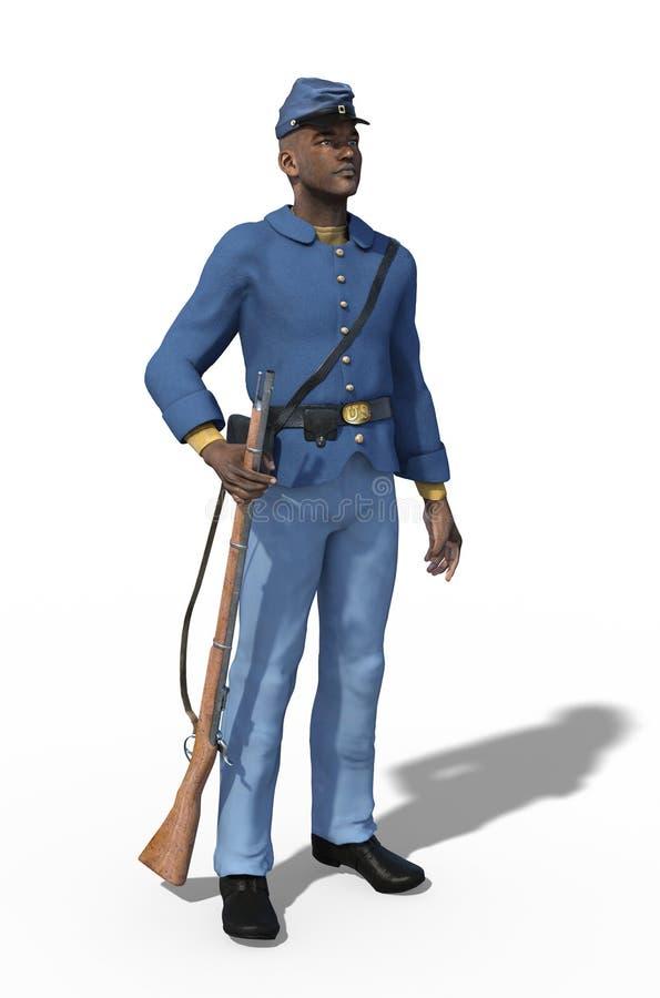 Soldado afroamericano Standing de la unión de la guerra civil ilustración del vector