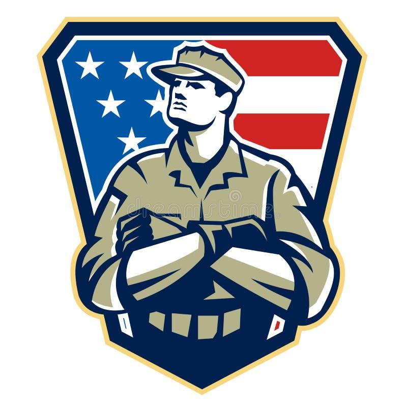 Soldado americano Arms Folded Flag retro ilustração stock