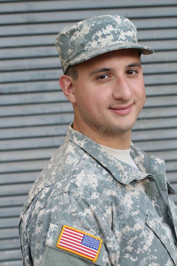 Soldado americano Close Up de la pertenencia étnica mezclada imagenes de archivo