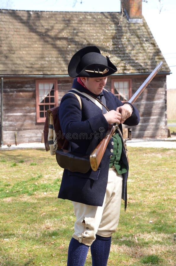 Soldado americano da guerra revolucionária fotos de stock