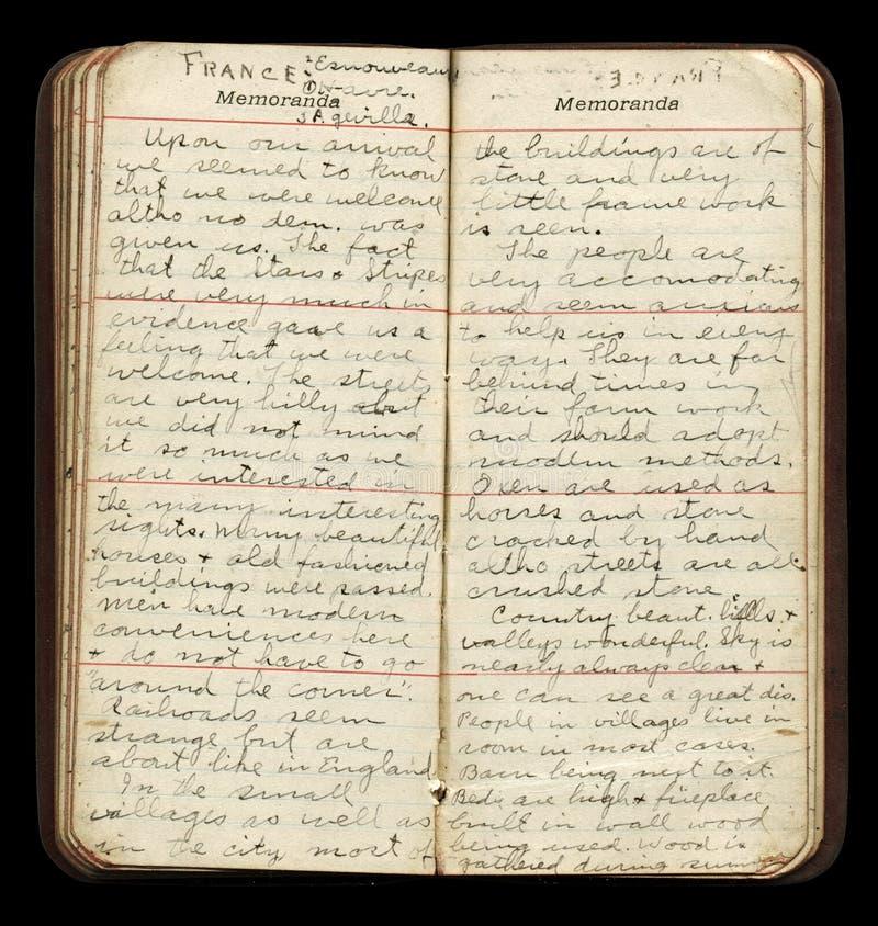 Soldado americano Diary Pages de WWI imagens de stock