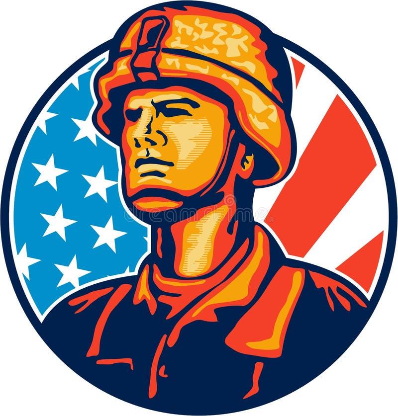 Soldado americano Flag Retro do recruta ilustração do vetor