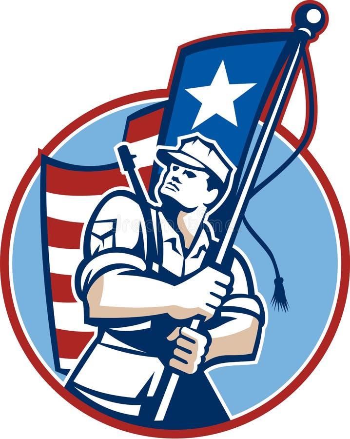 Soldado americano Flag Retro do recruta do patriota ilustração royalty free