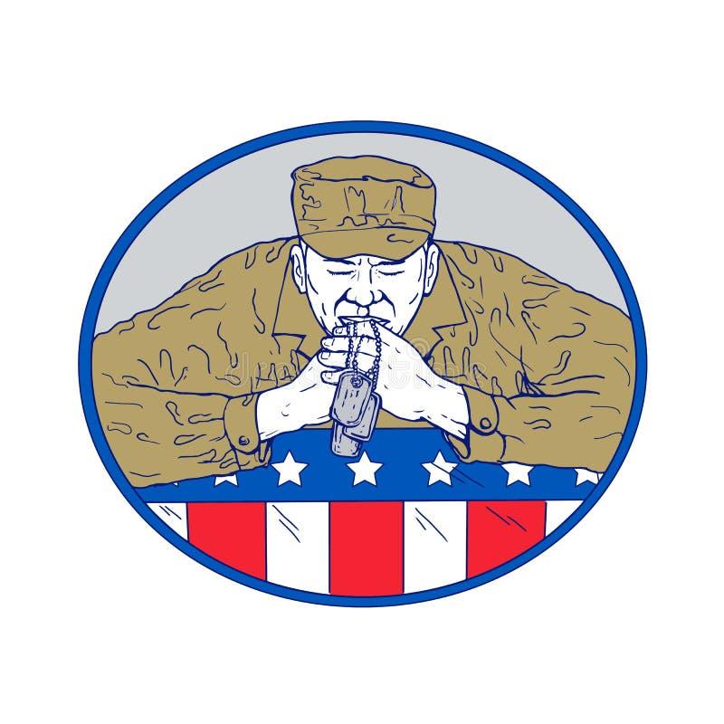 Soldado americano Praying Drawing Color ilustração stock