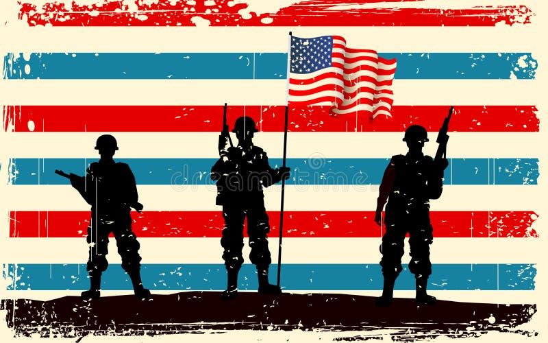 Soldado americano que se coloca con el indicador americano ilustración del vector