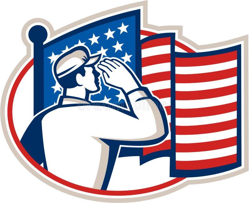 Soldado americano Salute Flag Retro ilustração royalty free