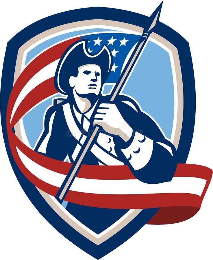 Soldado americano Waving Flag Shield do patriota ilustração stock