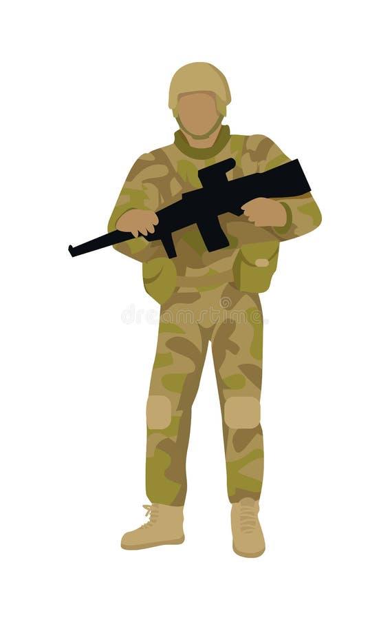 Soldado armado com a arma isolada A infantaria agrupa-se ilustração royalty free