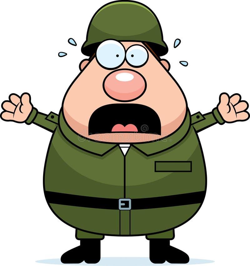 Soldado assustado ilustração do vetor