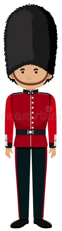 Soldado británico real Uniform en el fondo blanco stock de ilustración
