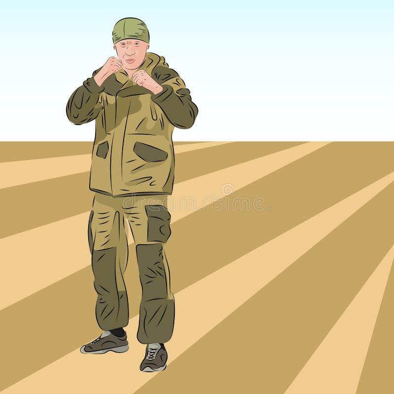 Soldado caucásico enojado In Camouflage Uniform en postura que lucha stock de ilustración