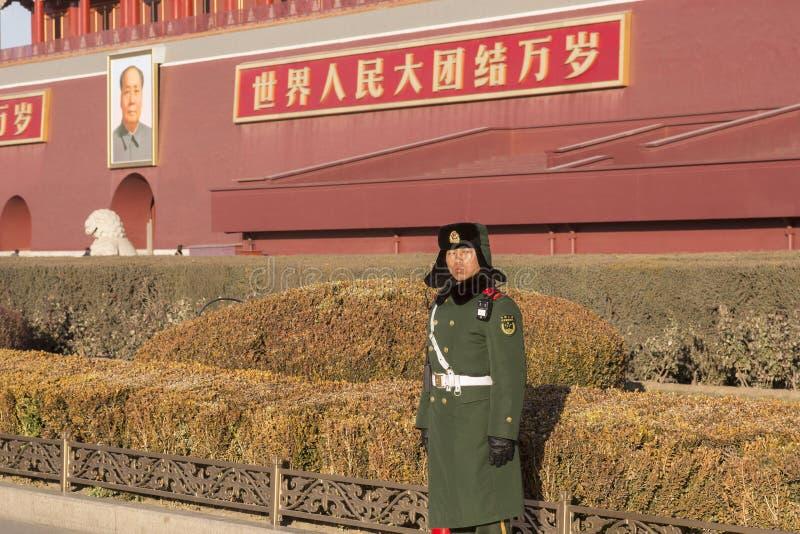 Soldado chino en guardia imágenes de archivo libres de regalías