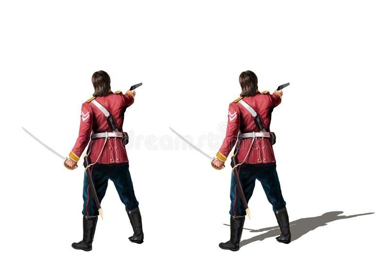 Soldado colonial británico con la espada y el arma ilustración del vector