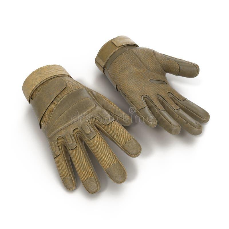 Soldado completo exterior Gloves Tan do assalto do dedo no branco ilustração 3D imagens de stock