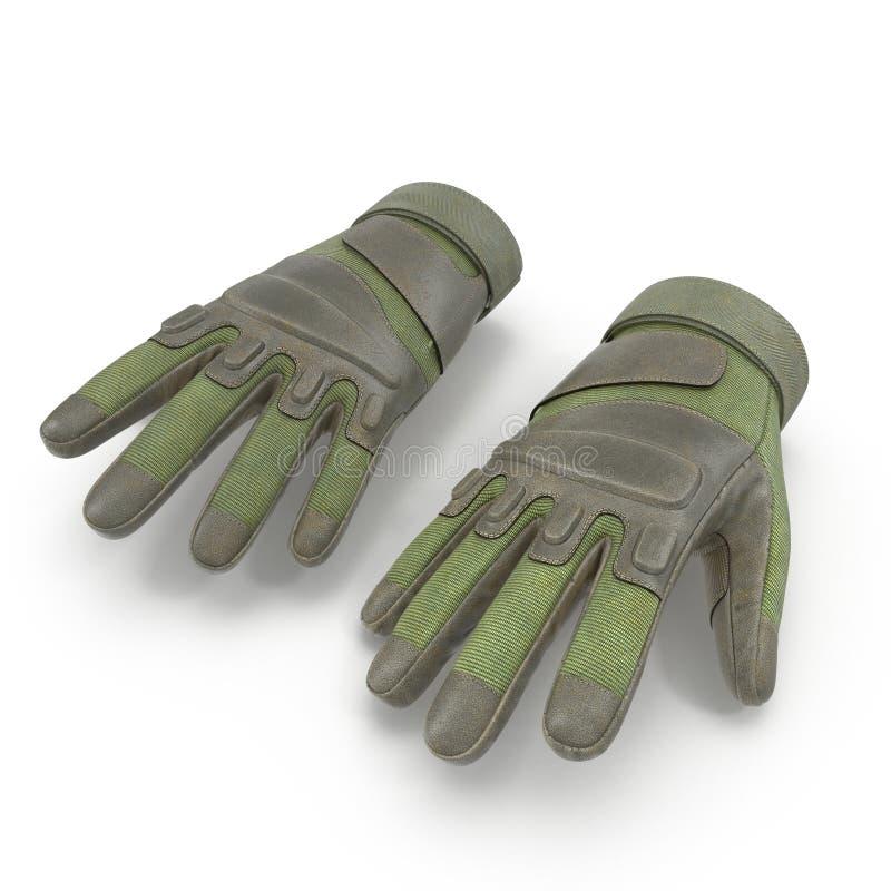 Soldado completo exterior Gloves Tan do assalto do dedo no branco ilustração 3D ilustração do vetor