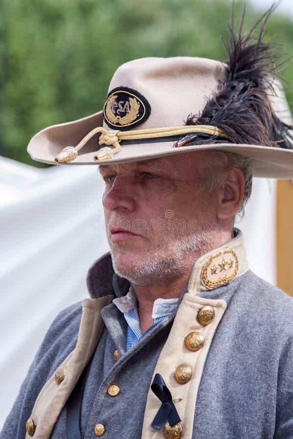 Soldado confederado na odisseia militar em Detling Kent o 29 de agosto de 2010 Homem n?o identificado foto de stock royalty free