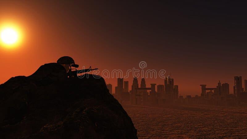soldado 3D que olha sobre a arquitetura da cidade no por do sol ilustração do vetor
