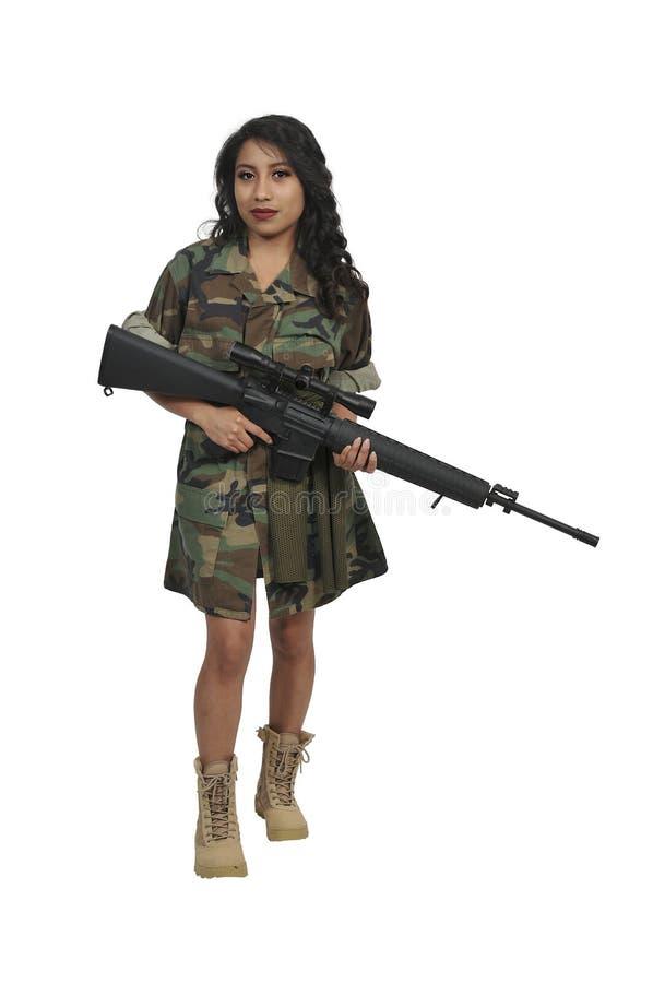 Soldado da jovem mulher imagens de stock