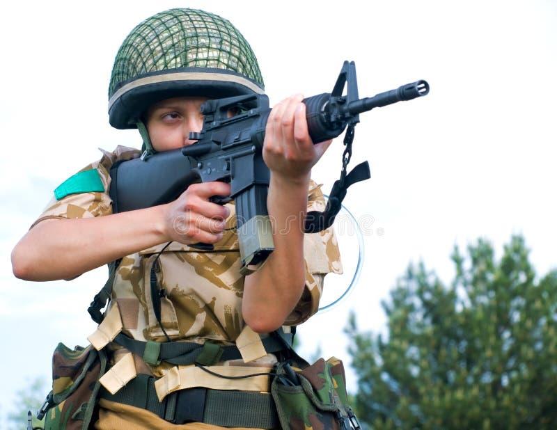 Soldado da menina fotografia de stock