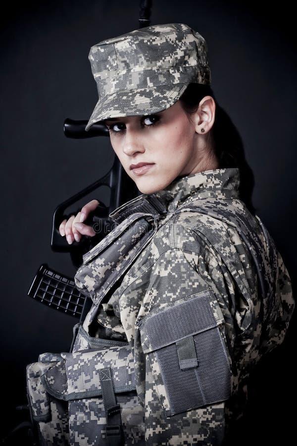 Soldado da mulher imagem de stock