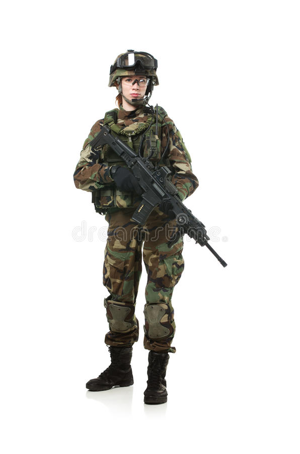 Soldado da OTAN na engrenagem completa. imagens de stock
