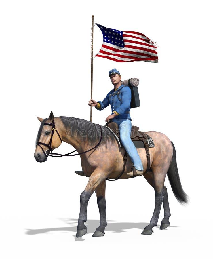 Soldado da união da guerra civil a cavalo ilustração do vetor