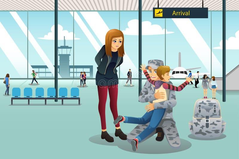 Soldado Dad Coming Home cumprimentado por seu filho no aeroporto ilustração royalty free