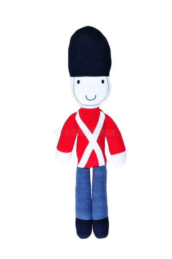 Soldado de brinquedo feito malha isolado no branco imagens de stock royalty free