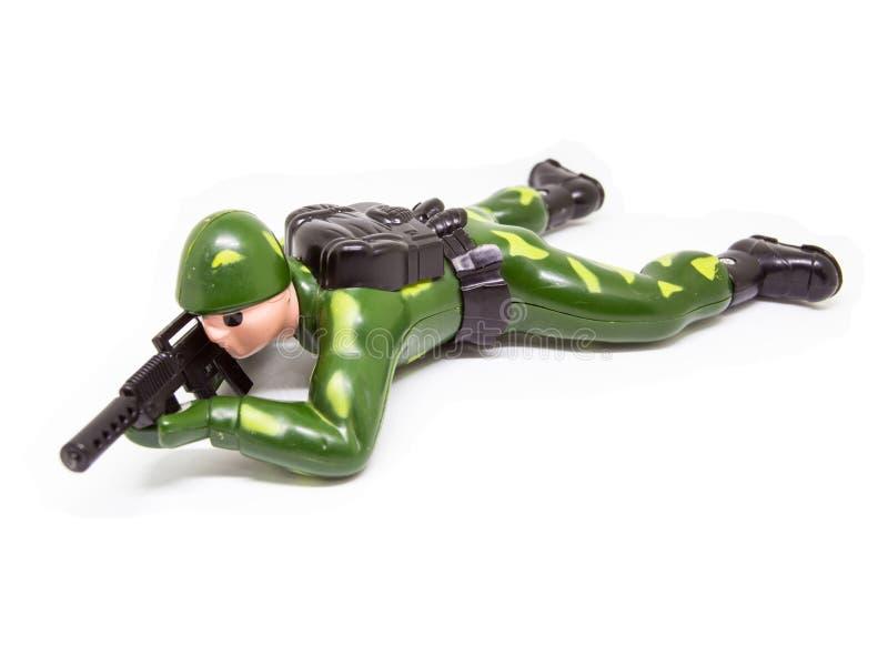 Soldado de brinquedo isolado no fundo branco fotos de stock